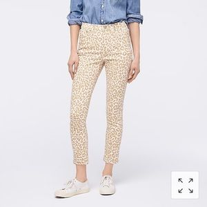J crew high rise leopard toothpick ankle jeans